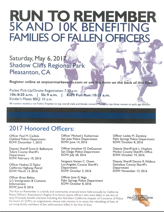 RUN TO REMEMBER 5K AND 10 K BENEFITING FAMILIES OF FALLEN OFFICERS