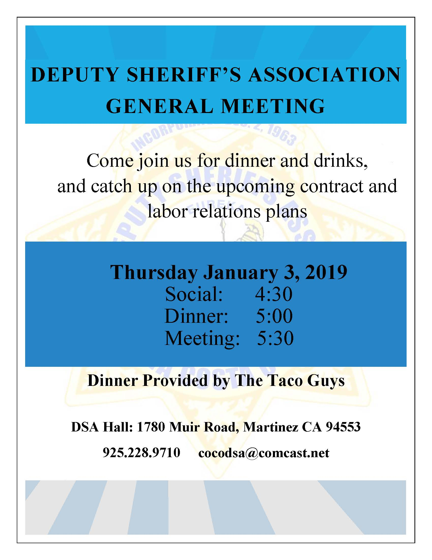 GENERAL MEETING January 2019