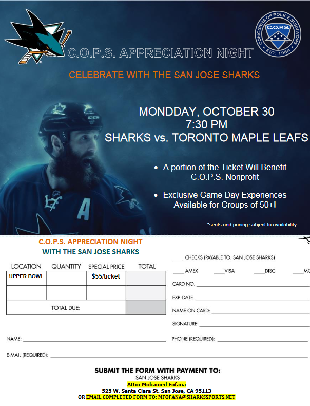 C.O.P.S. APPRECIATION NIGHT WITH THE SAN JOSE SHARKS