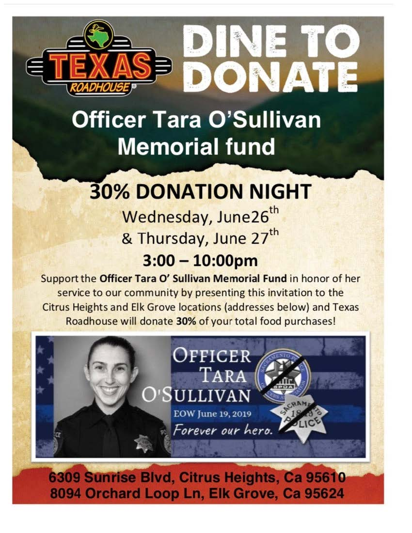 Dine to Donate-Officer Tara O'Sullivan Memorial Fund